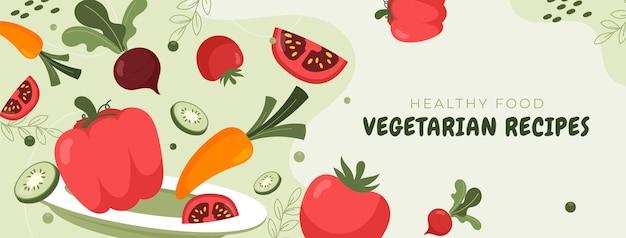 Modèle de couverture de médias sociaux de nourriture végétarienne dessinée à la main