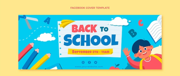 Modèle de couverture de médias sociaux à plat de retour à l'école