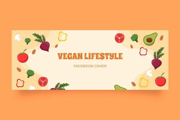 Modèle de couverture de médias sociaux plat végétarien dessiné à la main