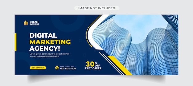 Modèle de couverture de médias sociaux pour agence de marketing numérique