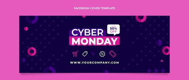 Modèle de couverture de médias sociaux pour le cyber lundi à plat