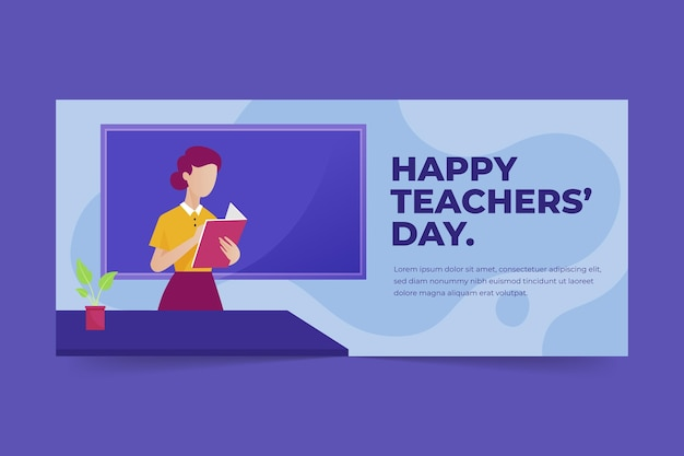Modèle de couverture de médias sociaux pour la journée des enseignants à plat