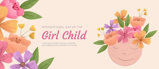 Modèle de couverture de médias sociaux pour la journée internationale de l'aquarelle de la petite fille