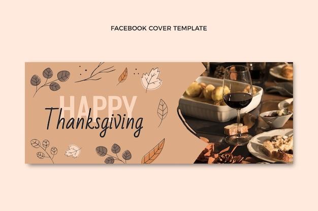 Modèle de couverture de médias sociaux de thanksgiving plat dessiné à la main