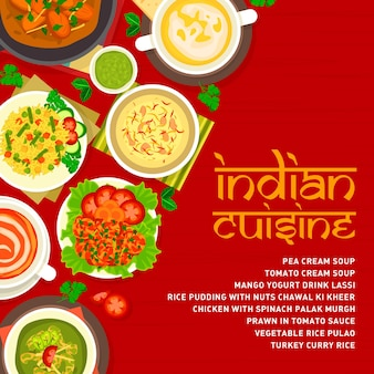 Modèle de couverture de menu de cuisine indienne