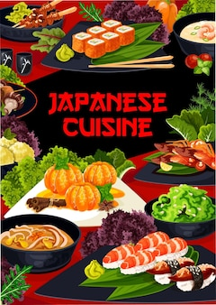 Modèle de couverture de menu de restaurant japonais. mandarine au sirop sucré, yakitori et shish kebab avec shiitake, crème de crevettes et soupe de nouilles au porc, salade d'algues, uramaki et nigiri sushi vecteur