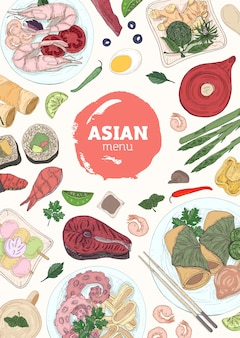 Modèle de couverture de menu vertical avec des sushis, des plats de poisson et de fruits de mer allongés sur des assiettes, des baguettes, de la sauce soja dessinée à la main