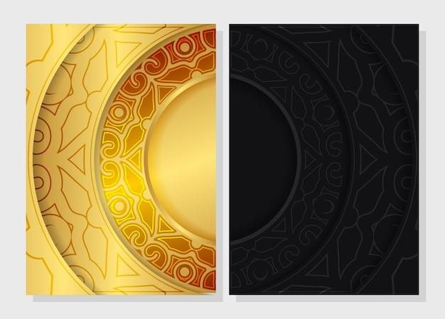 Modèle de couverture de motif de bordure dorée de luxe