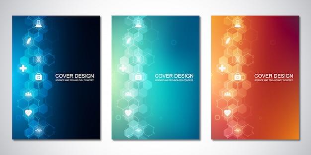 Modèle de couverture avec motif hexagone et icônes médicales