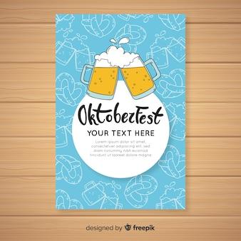 Modèle de couverture oktoberfest dessiné à la main
