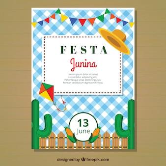 Modèle de couverture plat festa junina