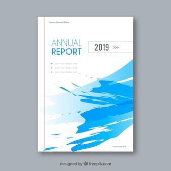 Modèle de couverture de rapport annuel bleu créatif