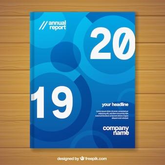 Modèle de couverture de rapport annuel bleu dégradé