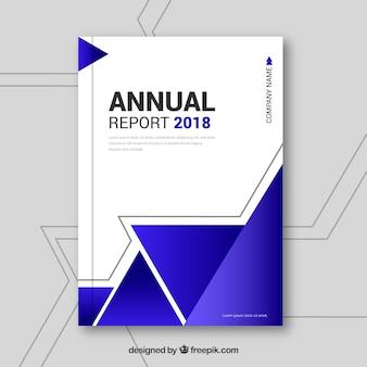 Modèle de couverture de rapport annuel bleu avec des formes géométriques