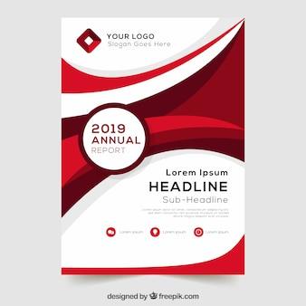 Modèle de couverture de rapport annuel rouge