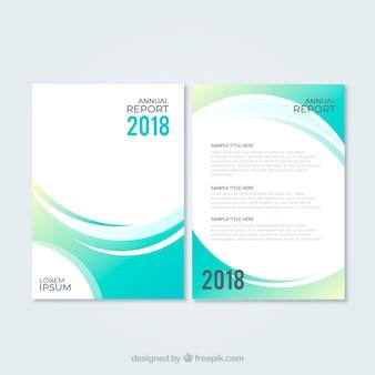 Modèle de couverture de rapport annuel vert abstrait