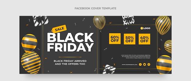 Modèle de couverture réaliste des médias sociaux du vendredi noir avec des ballons noirs et or