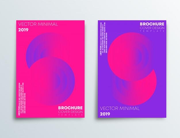 Modèle de couverture sertie de dessin abstrait et dégradé rose et violet