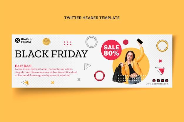 Modèle de couverture twitter plat noir vendredi