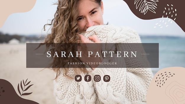 Modèle de couverture youtube de vidéoblogger de mode