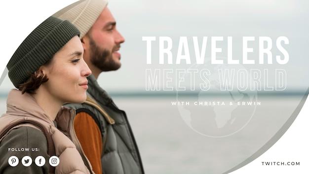 Modèle de couverture youtube de voyage