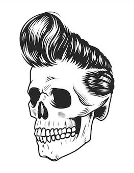 Modèle de crâne de rock star monochrome vintage