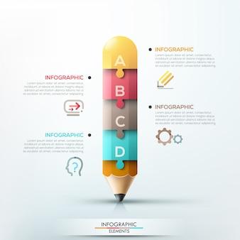 Modèle de crayon infographie moderne