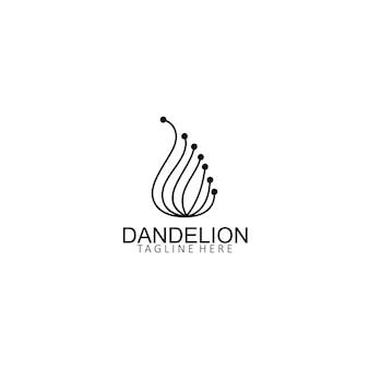 Modèle créatif simple de logo de fleur de pissenlit