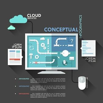 Modèle de creen infographie plat moderne avec des éléments de tuyau