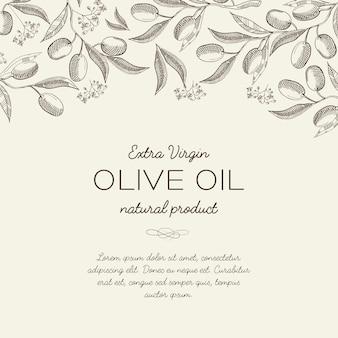 Modèle de croquis floral abstrait olive