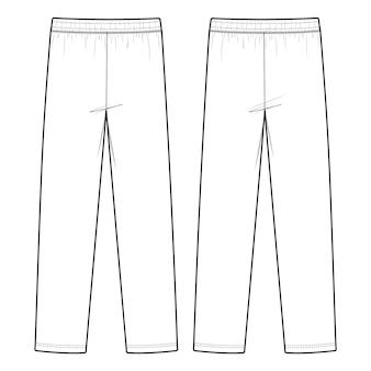 Modèle de croquis de mode pour le pantalon de piste