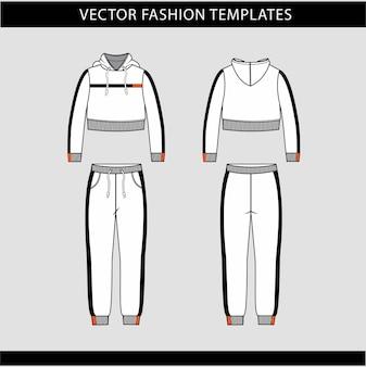 Modèle de croquis plat à capuche et pantalon, tenue de jogging avant et arrière, tenue de sport