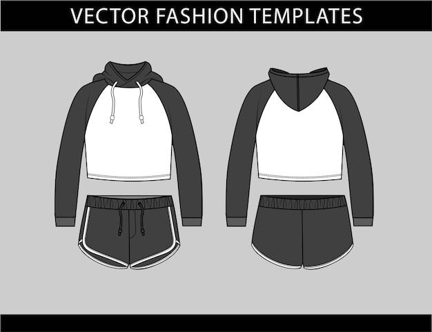 Modèle de croquis plat de mode à capuche et pantalon court, tenue de sport