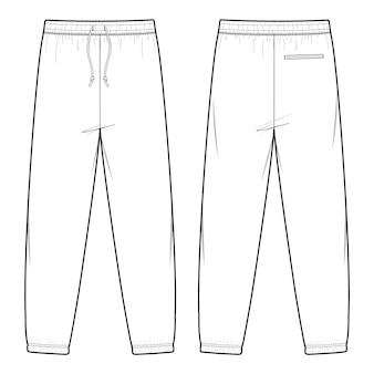 Modèle de croquis plat mode pantalons sweat