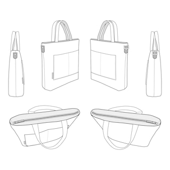 Modèle de croquis plat de mode sac