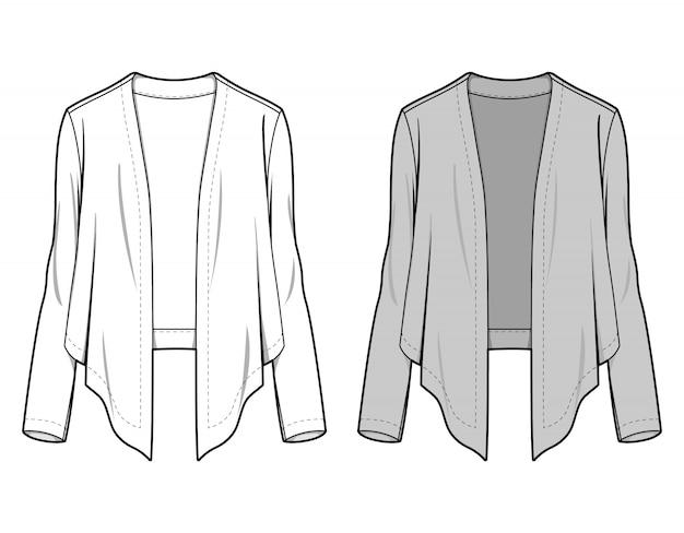 Modèle de croquis plat mode veste extérieure