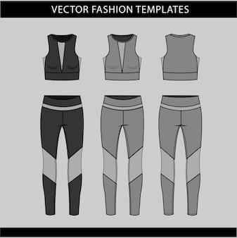 Modèle de croquis plat mode vêtements de sport, remise en forme avant et arrière