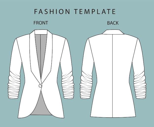 Modèle de croquis plats de mode blazer