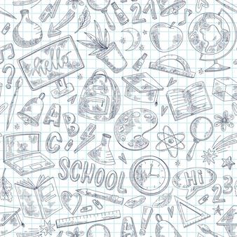 Modèle de croquis de retour à l'école