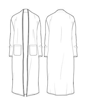 Modèle de croquis technique kimono robe