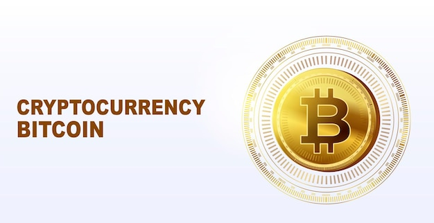 Modèle de crypto-monnaie d'argent électronique bitcoin pour une illustration vectorielle de bannière de page web