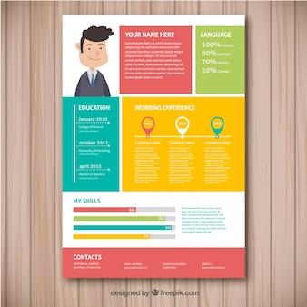 Modèle de curriculum coloré avec un design plat