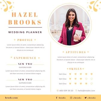 Modèle de cv de planificateur de mariage avec photo