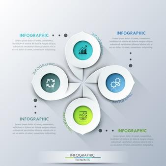 Modèle de cycle d'infographie moderne avec 4 marqueurs de papier