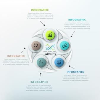 Modèle de cycle d'infographie moderne avec des formes de goutte