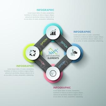 Modèle de cycle d'infographie moderne avec des rubans