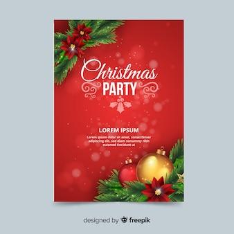 Modèle d'affiche de décoration de fête de Noël fête