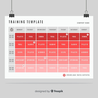 Modèle d'horaire de gym ou de fitness
