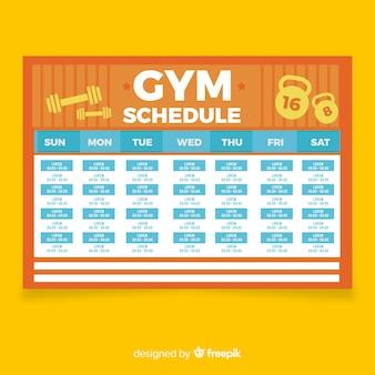 Modèle d'horaire de gymnastique ou d'entraînement