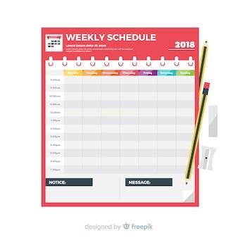 Modèle d'horaire hebdomadaire coloré avec design plat